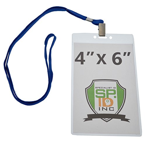 Extra Badges (4X6 Inch Extra Large Badge & Credential Holders (Pack of 10) with Lanyards by Specialist ID (Royal Blue))