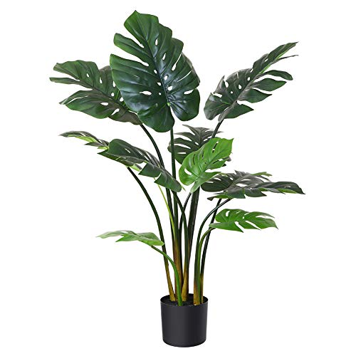 Fopamtri Artificial Monstera Deliciosa Plant 43 Inch Fake Tropical Palm Tree Perfect Faux Swiss Cheese Plant for Home Garden Office Store Decoration-11 Leaves-Pack of 1