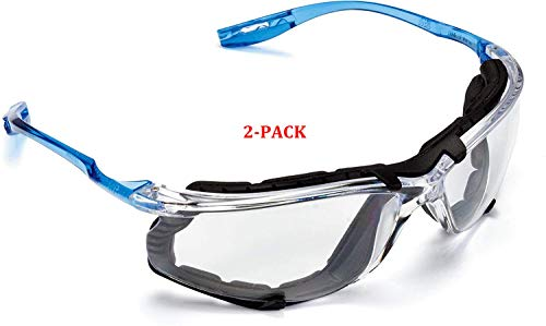 Safety Glasses, Virtua CCS Protective Eyewear 11872, Removable Foam Gasket, Clear Anti-Fog Lenses, Corded Ear Plug Control System (11872-00000-20 (2-Pack))
