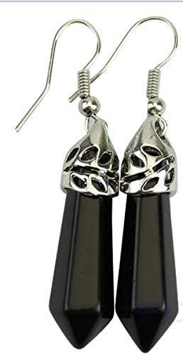 Haptian El péndulo Hexagonal Elegante de Las Gotas de la Piedra Preciosa cuelga el Pendiente Eardrop(Ágata de ónix Negro)