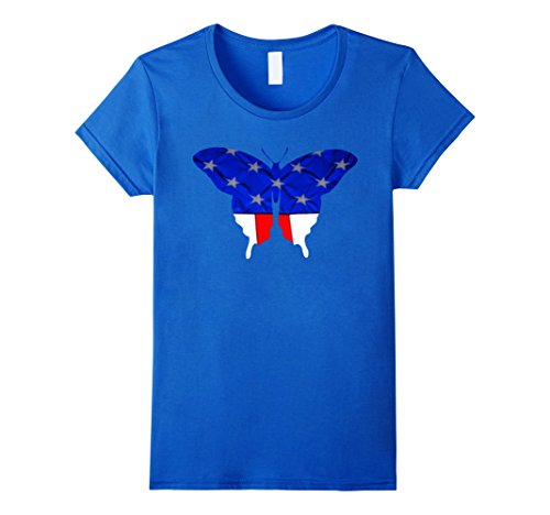 Blue Butterfly Womens T-shirt (Womens American Butterfly Flag T-Shirt  Large Royal Blue)