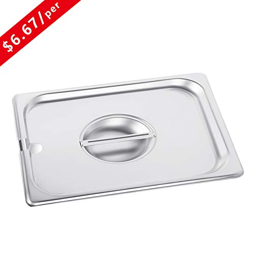 1/2 Size Stainless Steel Slotted Steam Table Pan Cover, Kitma Half Size Pan Lids, Non-Stick Surface, Lid for 1/2 Size Steam Pans with Handle - 12 Pack