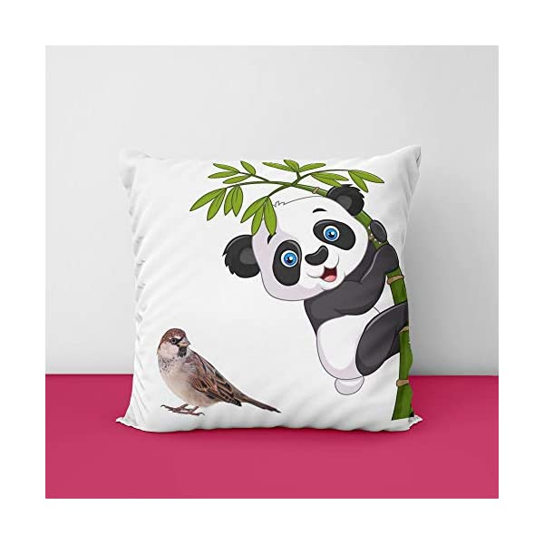41w0YKSc%2BHL Sparow Panda Square Design Printed Cushion Cover