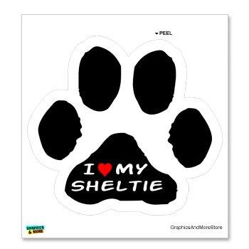 (I Love my Shetland Sheepdog on Paw Print - Sheltie - Window Bumper Locker Sticker)