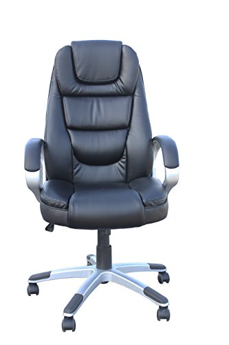 Exacme High Back Executive Swivel Leather Chair, Black (6155-8072)