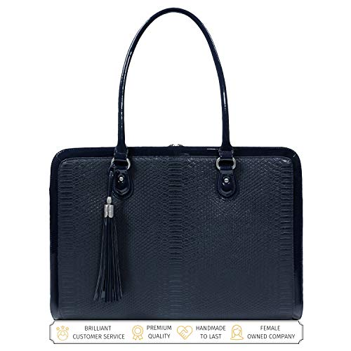 BFB Laptop Bag for Women - 17 inch Computer Briefcase for Women Handmade Luxury Vegan Leather Designer Stylish Travel Business Shoulder Messenger Work Tote Carrying Computer Case for Laptops - Navy