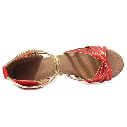 7cm 217 Chaussures Femmes de HROYL Latine Rouge Modèle de Chaussures Danse Danse Satin t01qxwPqvn