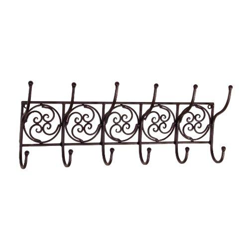 Tuscan Wrought Iron Metal Wall Hook Coat Rack Towel Holder