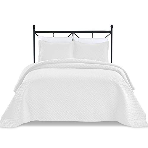 (Basic Choice 3-Piece Light Weight Oversize Quilted Bedspread Coverlet Set - White, King/California King)