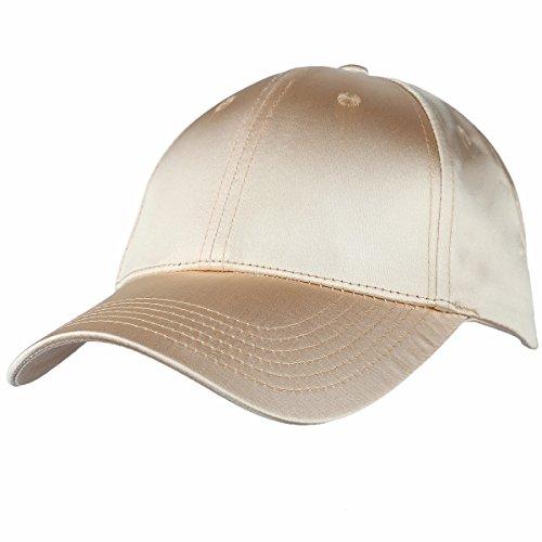 moonsix Baseball Cap,Plain Polyester 6 Panel Satin Sport Dancing Summer Sun Curved Visor Hat,Golden ()