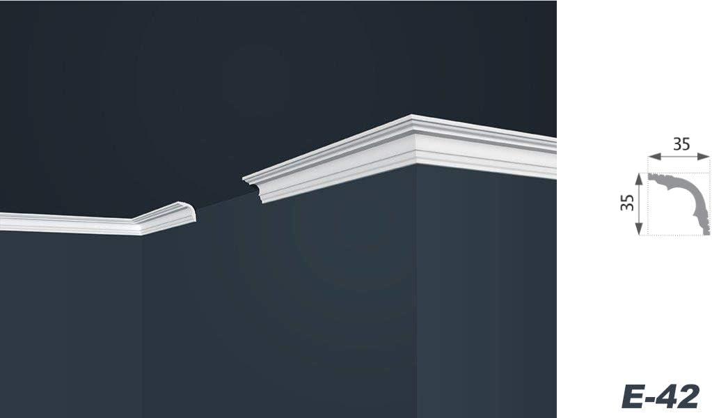 2 m, color blanco, perfil decorativo ligero, decorativo, XPS 35 x 35 mm E-42 Moldura de poliestireno para techo