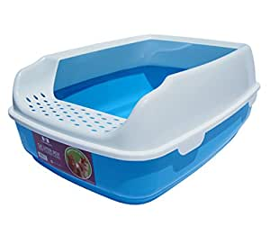 Two Meows Cat Litter Box With Kitty Litter Scatter Control - Blue