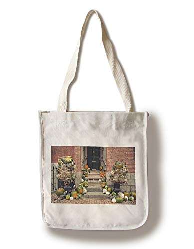 Lantern Press Salem, Massachusetts - Fall Decorations - Photography A-94744 (100% Cotton Tote Bag - Reusable) -