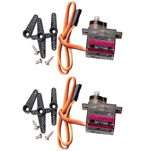 Qunqi 2Pcs MG90S Mini Metal Gear Servo Micro Servo Motor for RC Helicopter Boat Car