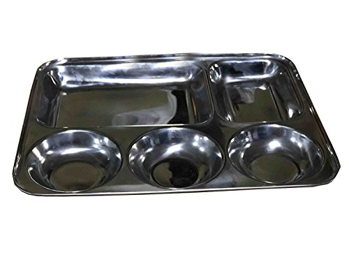 Easter Day Gift, Stainless Steel Rectangular Thali Plate, 5 in1 Five Compartment Divided Plate / Thali / Bhojan Thali / Mess Tray / Dinner Plate, Silver Color Size 13 X 13 Inch