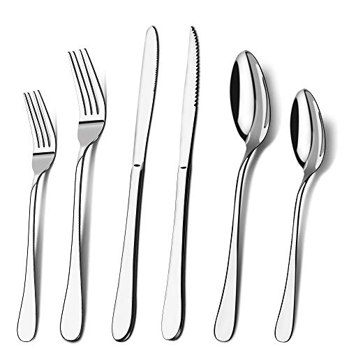 Silverware Set, 24-Piece Stainless Steel Flatware Cutlery Set for 4,Include Forks/Knives/Spoons, Mirror Polished…
