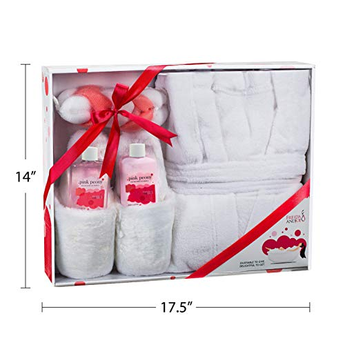 Home Spa Gift Basket Luxury Bathrobe & Slipper Spa Box for Women - Pink Peony Scent - Luxury Bath & Body Set For Women… 3