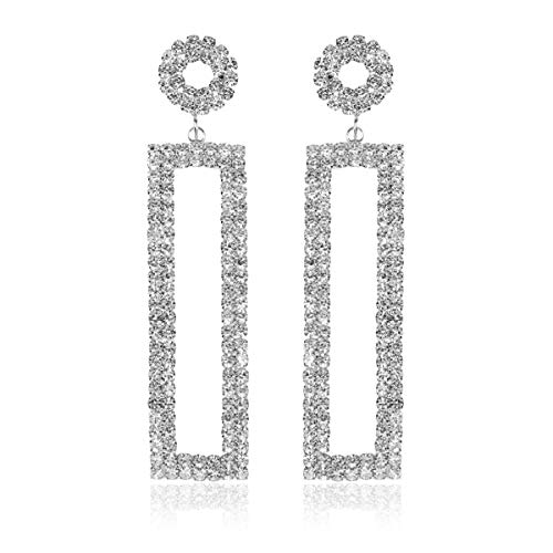 Sparkly Rhinestone Chandelier Statement Drop Earrings - Bridal Wedding Crystal Cubic Zirconia Geometric Dangles Rectangle, Teardrop, Pointed Oval Marquise, Rhombus (Rectangle Dangle - ()