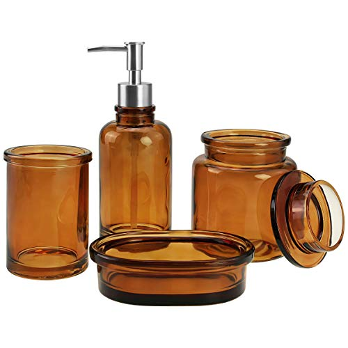 4-Piece Glass Bathroom Accessories Set, Complete Bath Accessory Sets Includes Soap Dispenser, Toothbrush Holder, Tumbler, Soap Dish, Housewares Clear Bathroom Ensemble Sets for Bath Decor (Amber) (Bath Accessories Glass)