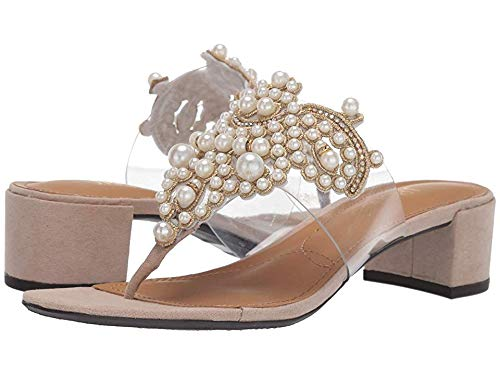 Women's Jonette Pearl and Gold Slip-On Backless Low-Heel Designer Sandals - DeluxeAdultCostumes.com