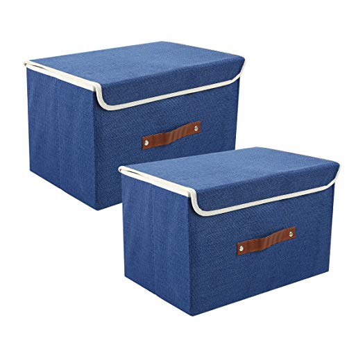 Zonyon Storage Bin with Lid, Fabric Foldable Storage Cube Box,Closet Organizer,Nursery Hamper Basket with Handle for Home, Entryway, Bedroom, Playing Room, Office, Living Room,Blue,2 Packs