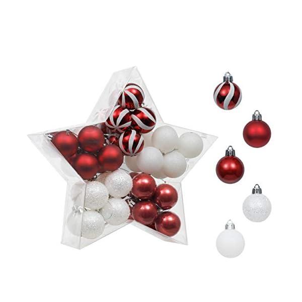 Valery Madelyn Palle di Natale 40 Pezzi 4 cm Palline di Natale, Decorazioni Tradizionali Rosse e Bianche Infrangibili con Palle di Natale per Decorazioni per Alberi di Natale 1 spesavip