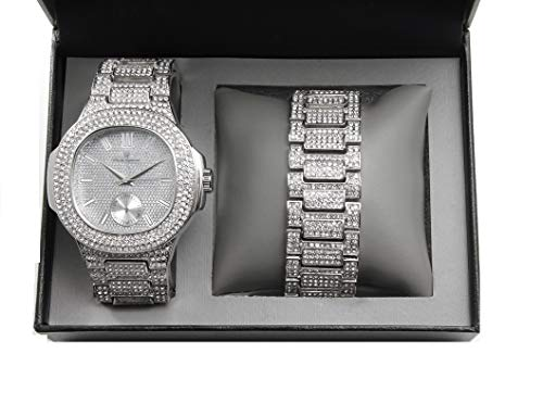 (Bling-ed Out Oblong Case Metal Mens Watch w/Matching Bracelet Gift Set - 8475B - Silver)