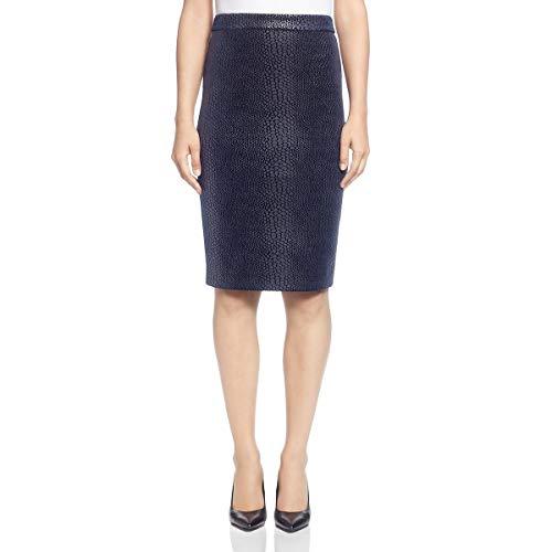 T Tahari Womens Snake Print Knee-Length Pencil Skirt Navy 12