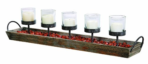 Creative Co-Op Wood and Metal Votive Candleholder - Glass Wood Candle