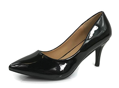 Womens Sadie Sanzi-2 Pumps Mid To Low Heel Slip On Shoes, Black, 9 (Black Leather Mid Heel Pump)
