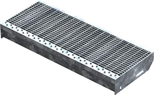 Fenau   Gitterrost-Stufe (R11) XSL – Maße: 600 x 240 mm - MW: 30 mm / 10 mm - Vollbad-Feuerverzinkt – Stahl-Treppenstufe nach DIN-Norm   Fluchttreppen geeignet/Anti-Rutsch-Wirkung