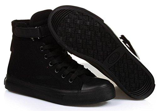 Kvinna Tillfälliga Hög Topp Platta Tygskor Mode Sneakers (5,5, Svart)
