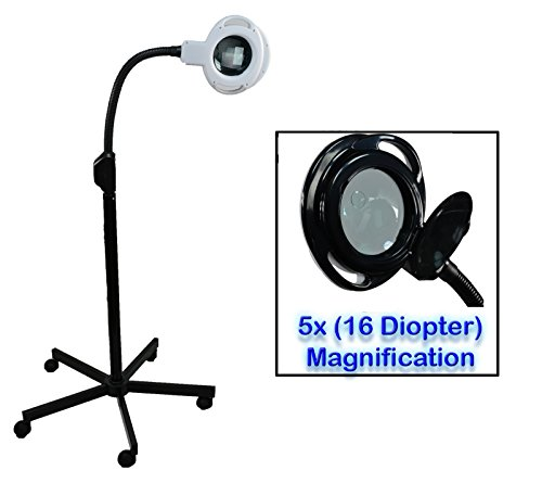 InkBed 5x (16 Diopter) Black LED Magnifying Lamp Light w/Stand Salon Spa Doctor Tattoo -