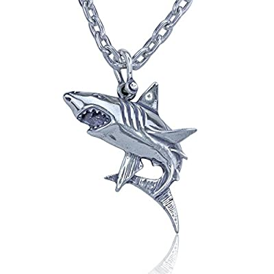 "Shark Pendant Crafted in Sterling Silver on Durable 24"" Stainless Steel Link Necklace"
