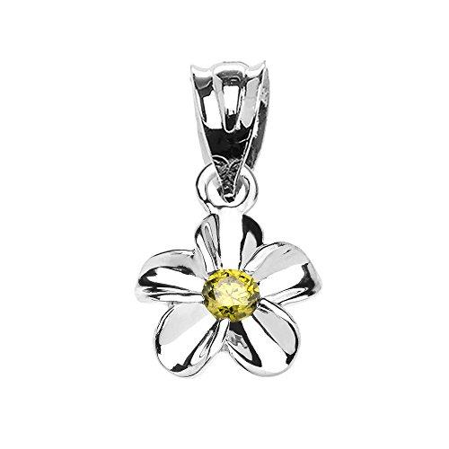 (Delicate 10k White Gold Hawaiian Plumeria Peridot Charm Pendant)