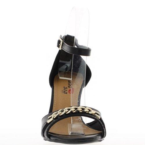 9,5 cm tacco e vassoio anteriore nero sandali