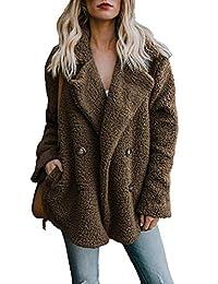 Asskdan Women's Open Front Fuzzy Coat Fleece Jacket Oversized Coat with Pockets