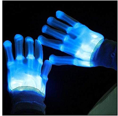 LED Gloves, Light Up Blue Flash Skeleton Hand Gloves Single Colour 3 Modes Glow for Festivals/ Halloween/ Christmas/ Bonfire Night/ Party/ Games/ Gift, Small Size Kids(5-10 yrs Blue)