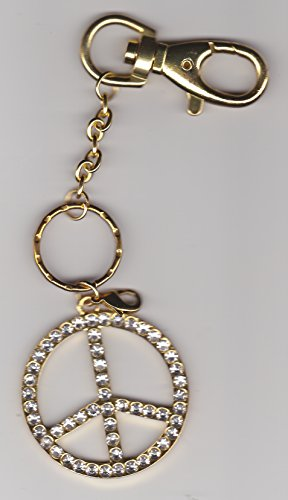 Peace Sign Symbol Key Chain With Bling Rhinestone Crystals & Gold Hardware (3-In-1 : Has Key Loop, Lobster Claw & Clip To Interchange As A Key Chain, Purse Charm Or Zipper Pull)
