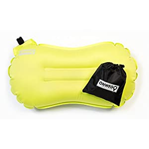 Airus Ultralight Inflatable Backpacking Pillow / Camping / Air Travel Pillow 2oz, 14in x 8in, Compact, Compressible, Inflating by ONWEGO