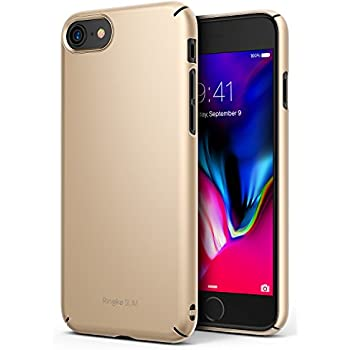 Ringke [SLIM] Apple iPhone 7 / iPhone 8 Case Snug-Fit Slender [Tailored Cutouts] Extreme Lightweight & Thin Superior Coating PC Hard Skin Cover - Royal Gold