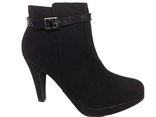 Heel 3 ODGI Ankle 773452 High 8 Suede Size TRENDS Boots Lined Leather Faux Black Ladies 7xz8U8