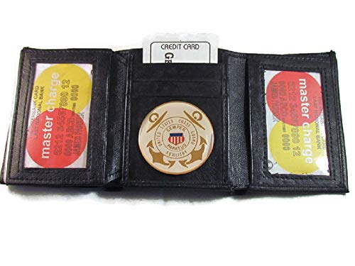 USCG US COAST GUARD AUXILIARY BLACK SMOOTH LEATHER TRI FOLD WALLET 2 ID 17 CARD WALLET