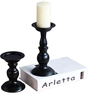 Candle Holders for Pillar Candles, Retro Iron Candlestick Holder 2 Pcs Candle Holders Stand for LED and Pillar Candles, Ornament for Birthday, Wedding and Home Decoration (Large)