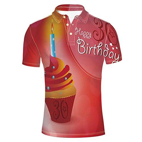 iPrint Fashion Shirts Cupcake with Candlestick Stars Bokeh Backdrop for Mens