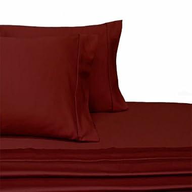100-Percent Plush Cotton 800 TC Sheet Set by Pure Linens, Lavish Sateen Solid, 4 Piece King Size Deep Pocket Sheet Set, Burgundy