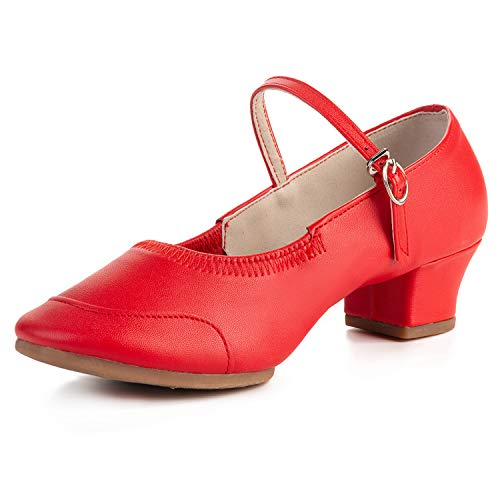 FEETCITY Girls Soft-Soled Latin Ballroom Dance Shoes with Leather Strap Red 3 M US Little -
