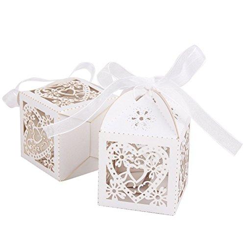 WINOMO 50 Stücke Herzförmigen Hochzeit Gefallen Süßigkeit Kästen Geschenkboxen (Weiß)