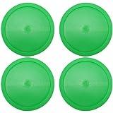 4 Large, Green Round Air Hockey Pucks