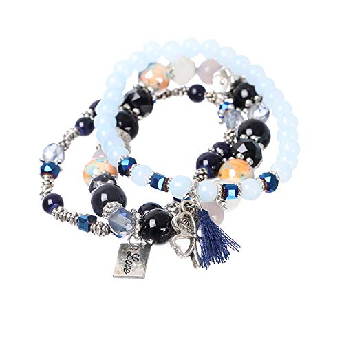 OASIS LAND Jewelry Bohemian Crystal Beaded Alloy Four-Leaf Clover Pendant Elastic Multiple Combination Bracelet Female Jewelry